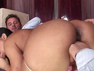 Threesome porn with two gentlemen and remarkable whore