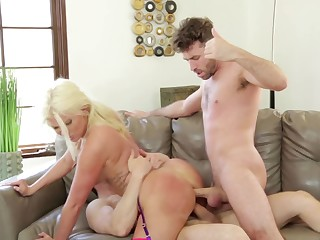 Blonde fatty with a big booty gets nailed by two handsome guys