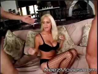 Busty blonde MILF gets 2 cocks to suck and get screwed by