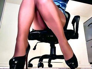 Sexy sheer pantyhose legs and high heels