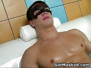 Super good looking gay hunk masturbating