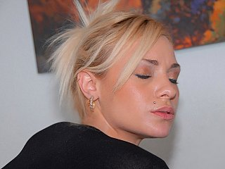 Sexy golden-haired babe getting fucked hard.., in clothes