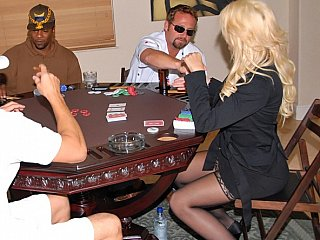 Winning blond sexy MILF at poker