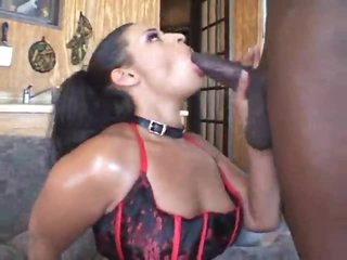 Black girl dolled up in underware sucks black cock